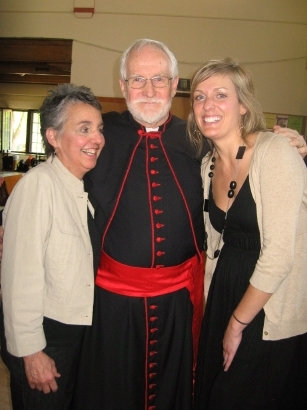 Tony in cassock, with two wardens
